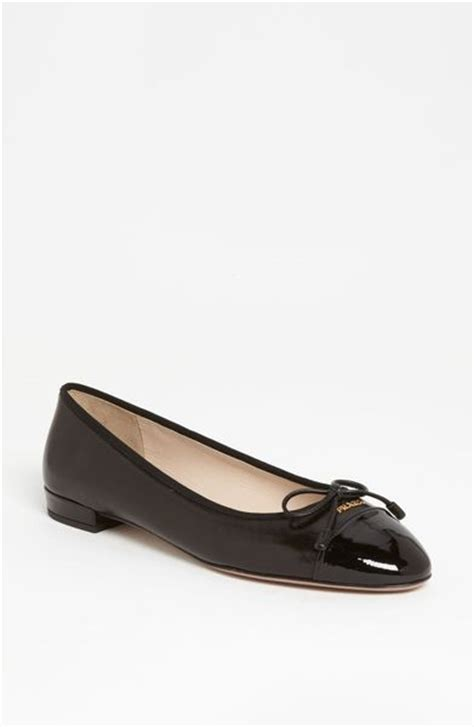 prada flat shoes prada bow ballerina flat in black lyst