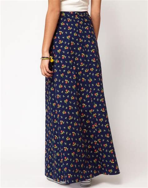 river island river island aline maxi skirt in blue navy