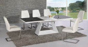 Dining Room Tables And Chairs For 8 White High Gloss Extending Black Glass Dining Table And 8 Chairs Set Ebay