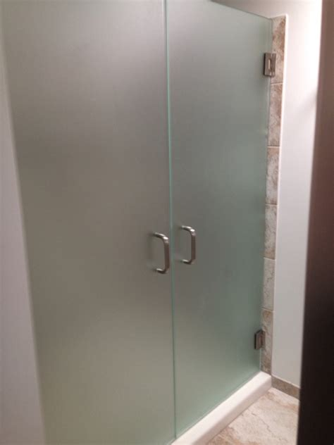 Frosted Shower Glass Doors 3 8 Quot Frameless French Shower Doors Frosted Glass