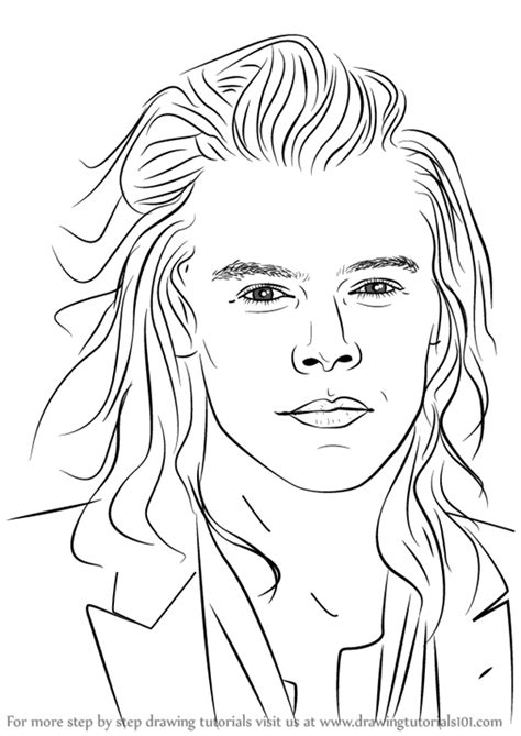 learn how to draw harry styles singers step by step