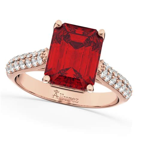 Ruby 4 75 Ct emerald cut ruby engagement ring 14k gold 5