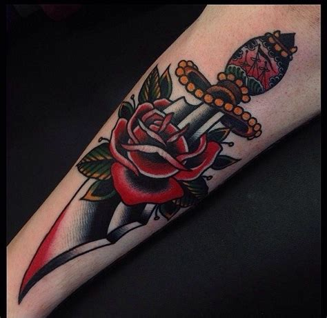 calgary tattoo custom tattoos traditional dagger through rose by jay at bushido tattoo