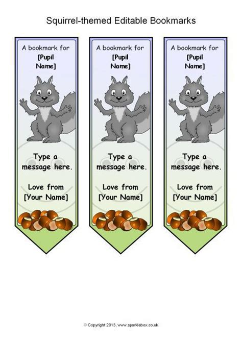 printable bookmarks sparklebox squirrel themed editable bookmarks sb9708 sparklebox
