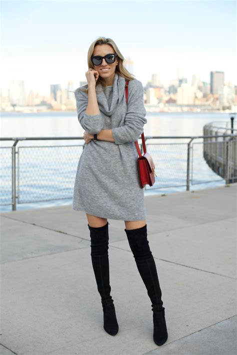 dress with boots sweater dress the knee boots mind swagmind
