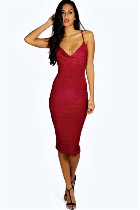 slinky costume meg slinky strappy cowl front bodycon dress at boohoo