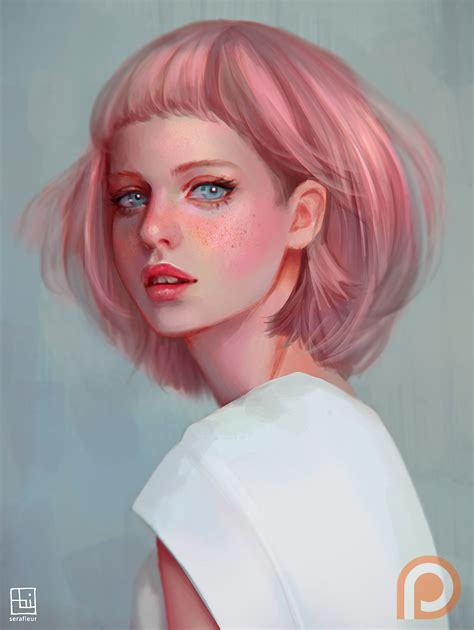 pink drawing pink haired lady by serafleur on deviantart