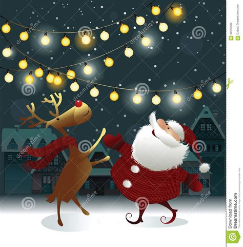 animated photos of christmas santa claus with reindeer background with santa claus stock vector image 62535082