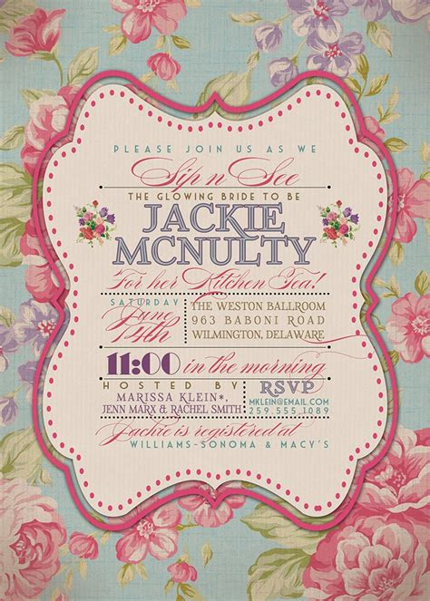 kitchen tea invitation vintage rustic bridal by