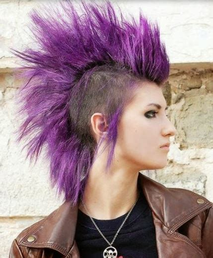 punk hairstyles and names purple female punk hairstyle with very long hair length