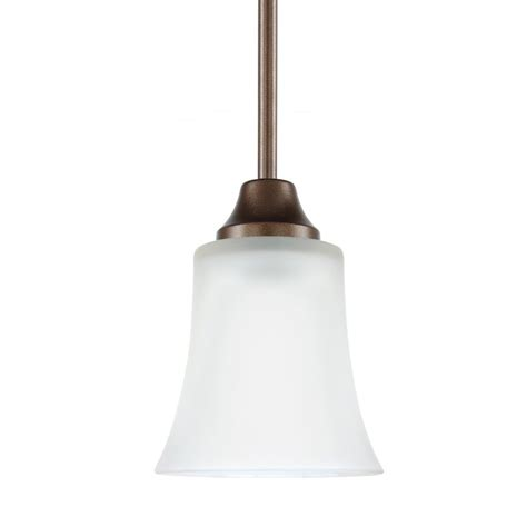 Metal Bell Pendant Light Shop Sea Gull Lighting Holman 5 In Bell Metal Bronze Mini Etched Glass Bell Pendant At Lowes