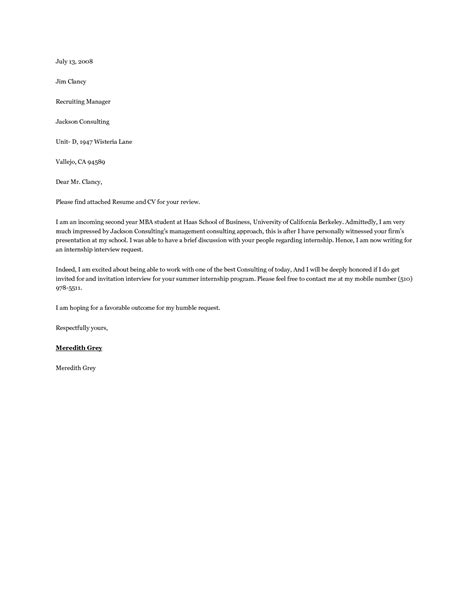 mba internship cover letter resume writing for mba students