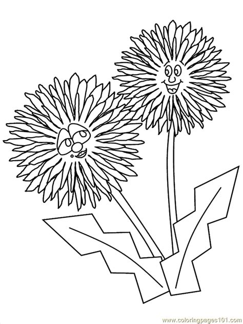 cartoon flower coloring page coloring pages flower coloring pages dandelion cartoon
