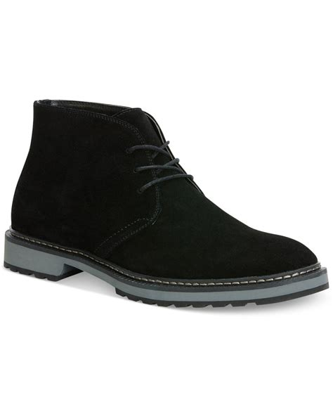 calvin klein agdin suede boots in black for lyst