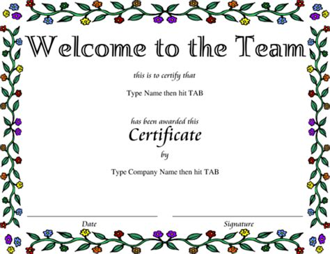 welcome certificate template award certificate templates