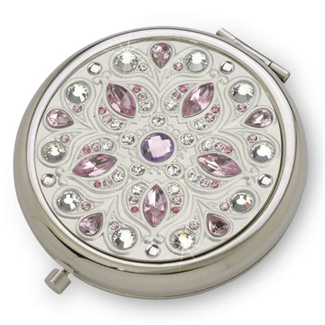 pink serenity silver luxury compact mirror with austrian
