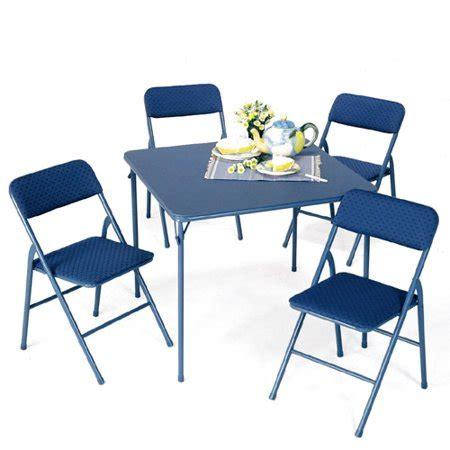 walmart card table and chair set mainstays blue 5 card table set walmart com