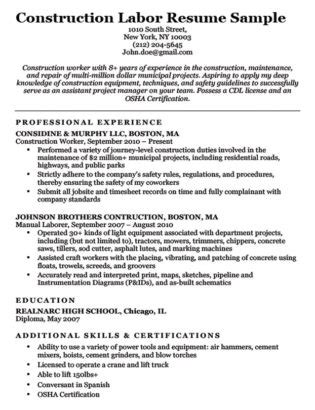 construction resume sles laborer construction cover letter sle resume companion