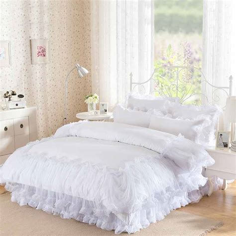 white lace bedding 3 4pieces white lace bedspread princess solid color