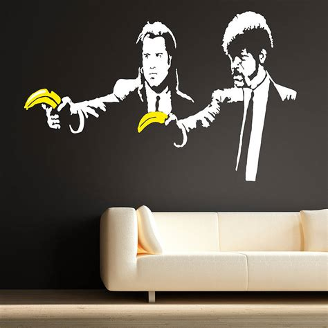 banksy wall stickers banksy pulp fiction wall stickers by the binary box