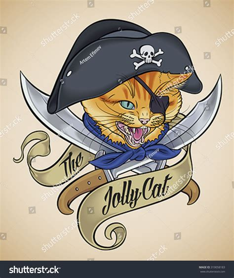 tattoo pirate cartoon vintage tattoo design cats head which stock vector