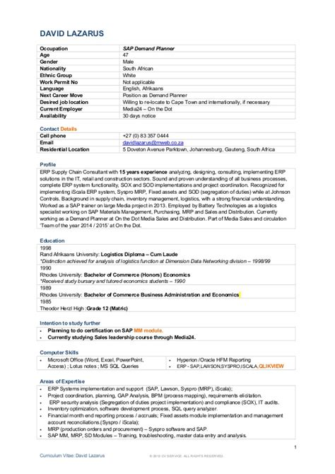 Resume Keperawatan App Resume David Lazarus 21 05 2015 Demand Planner