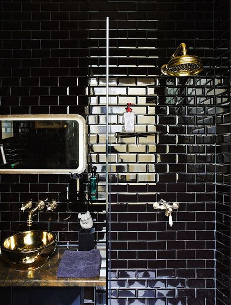 black subway tile black subway tile eclectic bathroom