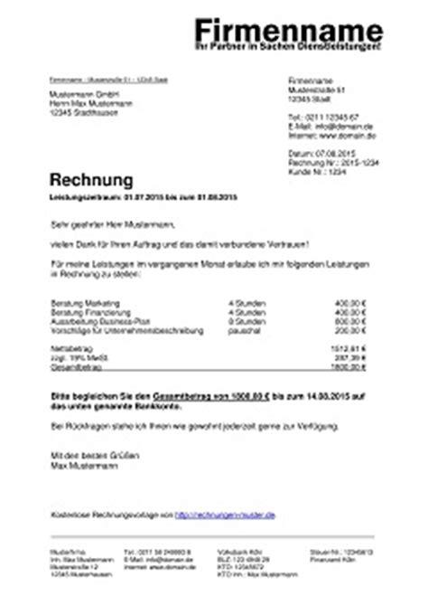 Privatperson Rechnung F R Dienstleistung rechnungsvorlagen kostenlos rechnungsvorlage f 252 r jeden