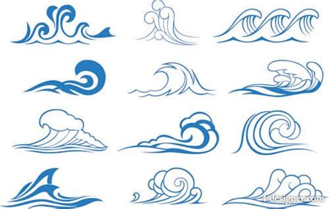 4 designer wave graphics vector material 3