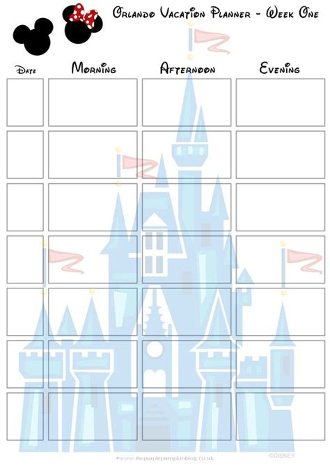 vacation planning calendar template orlando walt disney world vacation planner vacation