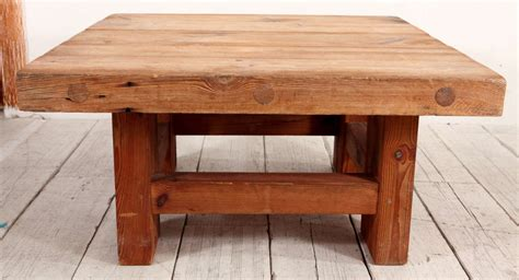 Rustic Square Coffee Tables Rustic Wood Block Square Coffee Table At 1stdibs