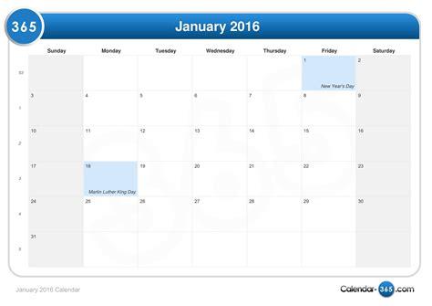Jan Calendar 2016 January 2016 Calendar