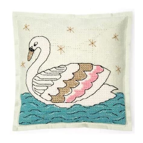 rico design embroidery kits embroidery kit rico design cushion swan
