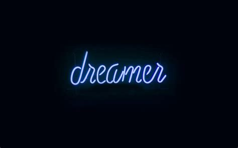 ay dreamers neon sign dark illustration art blue wallpaper
