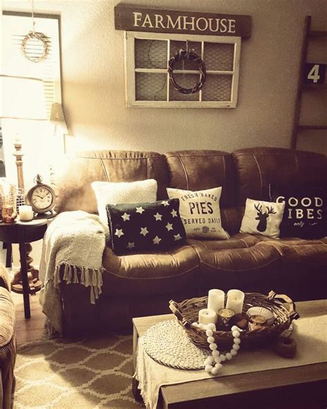cozy brown leather sofa for yellow living room design 236 best images about living room decor rustic farmhouse