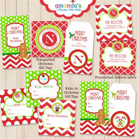 christmas gift tags printables personalized monogram