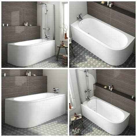 corner baths with shower modern bath d shape back to wall corner bathtub pivot shower screen gloss white ebay