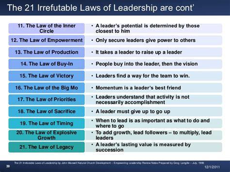 summary of the 21 irrefutable laws of leadership by john c maxwell