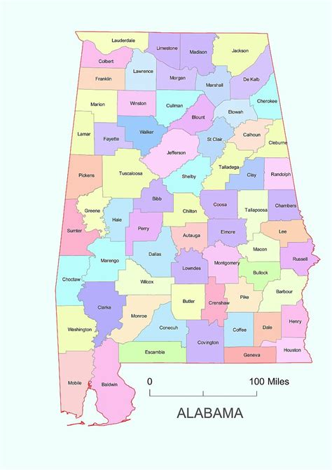 alabama state colors preview of alabama vector county map colored