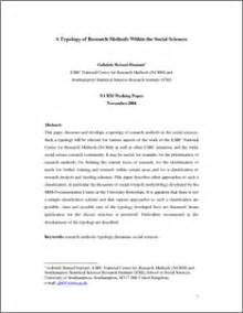 Scientific Method Research Paper Sle by A Typology Of Research Methods Within The Social Sciences Ncrm Eprints Repository