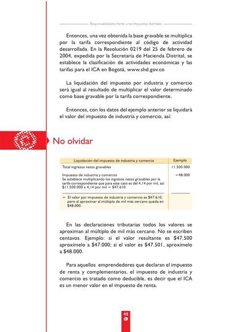 secretaria de hacienda bogota ica liquidcion cartilla ica bogot 225