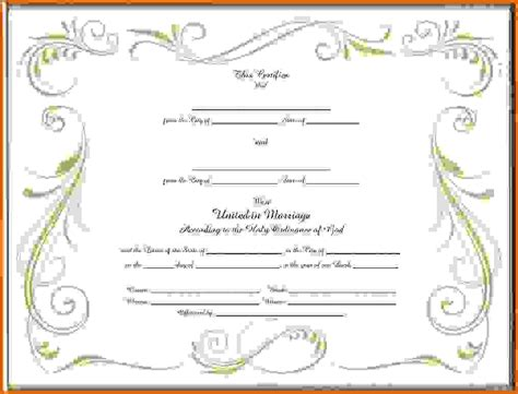 blank marriage certificate template blank marriage certificate templatereference letters words