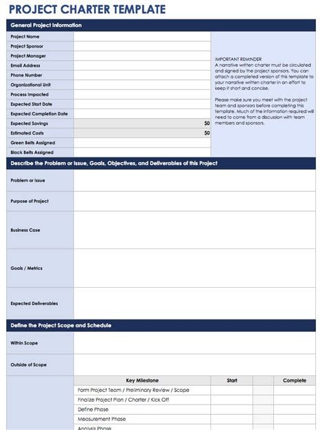 project charter template project management charter