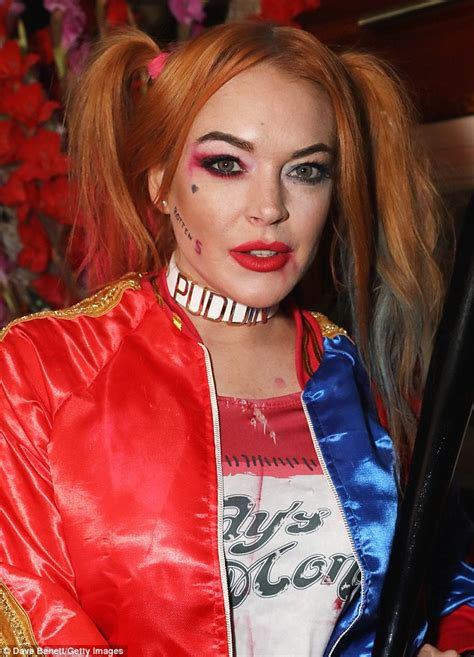 lindsay lohan halloween costume lindsay lohan wears suicide squad inspired hotpants and
