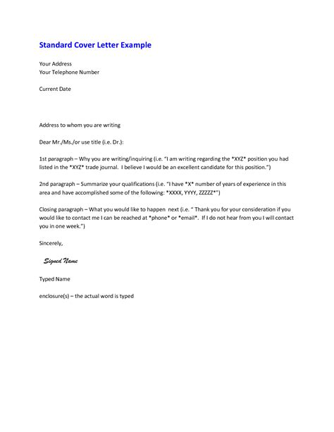 standard cover letters cover letter standard format best template collection