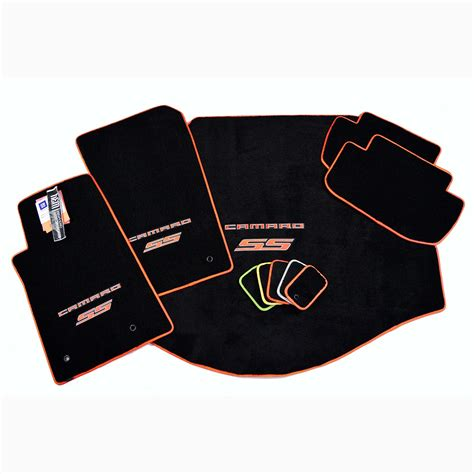 Chevy Camaro Floor Mats by Chevrolet Camaro Ss Floor Mat Set Orange Logo Trim