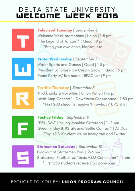 week info union program council student affairs