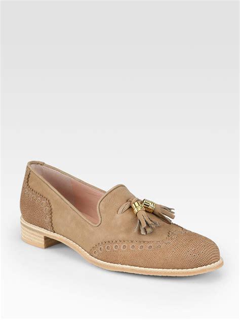 suede loafers with tassels stuart weitzman guything lizardprint suede tassel loafers