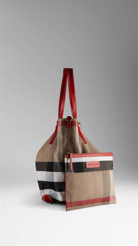 Burberry Check Canvas Tote by Burberry Large Check Canvas Tote Bag Lyst