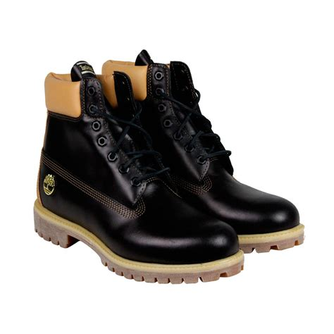 timberland 6 in premium boot mens black leather lace up